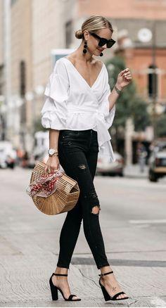 Cult Gaia Bamboo Bag   cult gaia outfit, white ruffle shirt, black skinny jeans, black sandal heels