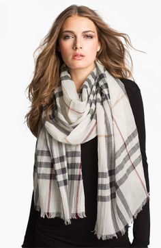 Free shipping and returns on Burberry Giant Check Print Scarf at Nordstrom.com. A gauzy, lightweight scarf is elegantly patterned with an oversized check print.