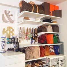 The smaller the closet is, the more effective storage and organization should be. Think over organizing wall storage right to save maximum of your space. Purse Storage, Purse Organization, Wall Storage, Closet Storage, Storage Ideas, Jewelry Storage, Necklace Storage, Clutter Organization, Jewelry Holder
