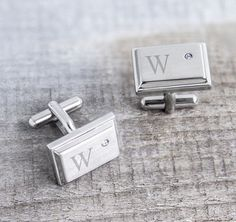 The men in your wedding will love these Zircon Jewel Stainless Steel Cuff Links. Each Cuff link features a classic T-back closure and a zircon jewel accent.