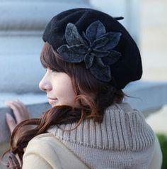 Black Flower French beret hat for women vintage winter hats
