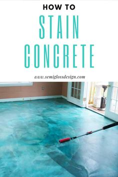 stained concrete floors Stained concrete is such an affordable way to update your concrete floor. This DIY tutorial is perfect for basements, garages, porches or even your concrete slab floor! Stained Concrete Porch, Diy Concrete Stain, Concrete Color, Painting Concrete, Concrete Design, Concrete Patio, Concrete Countertops, Concrete Floor Diy, Concrete Furniture