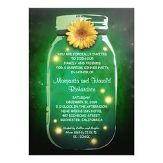 Fireflies & Rustic Mason Jar Whimsical Anniversary Card