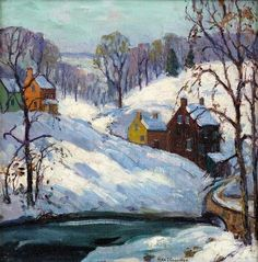 Fern Isabel Coppedge  -  DECEMBER AT NEW HOPE, 12 X 12 in., oil on canvas.