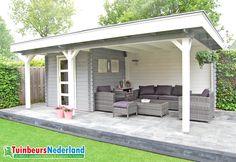 Blokhut met overkapping plat dak modern oldehove