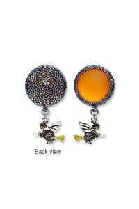 Earrings with Antiqued Silver-Plated Pewter Charms Lunasoft Aluminum and Lucite Cabochons and Seed Beads