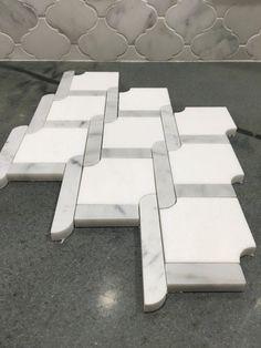 Trellis Waterjet Mosaic Thassos White Carrara Marble Basketweave Tile – TileBuys