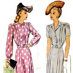 Vintage 40s Shirtwaist Dress Pattern- Bust 40- McCall 6486