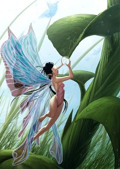 Fairy waters a plant. Fantasy Art by Juan Nitrox-Marquez. http://nitrox-marquez.deviantart.com/art/Fairy-170776439