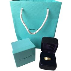 Pre-owned (trusted Tradesy Seller) Tiffany & Co. 18k Yellow Gold Atlas... ($489) ❤ liked on Polyvore featuring jewelry, rings, accessories, none, 18 karat gold ring, 18k gold jewelry, 18k ring, blue jewelry and 18 karat gold jewelry