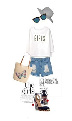 """""""Girls"""" by frenchfriesblackmg ❤ liked on Polyvore featuring Topshop, Monki, MANGO, Quay, Style & Co. and Aquazzura"""