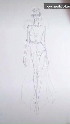 Fashion Illustration Tutorial, Fashion Drawing Tutorial, Fashion Figure Drawing, Fashion Model Drawing, Fashion Drawing Dresses, Fashion Illustration Dresses, Illustration Mode, Dress Design Drawing, Dress Design Sketches