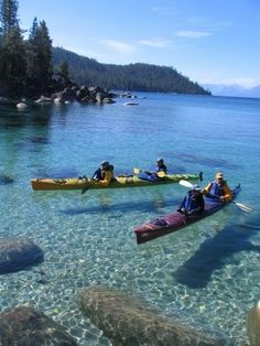 Kayaking the crystal clear waters of Lake Tahoe's east shore. Wilderness Campsites. This looks heavenly.