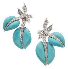 Estate šperky: náušnice, tyrkysová, Diamond, bílé zlato náušnice EA ...