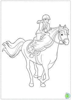 coloriage de barbie se baladant avec son cheval