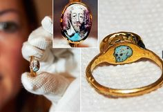 When Oliver Cromwell beheaded Charles I the Royalists went underground to wait for a time when they could restore royal power. This ring worn by a royalist who would have worn this portrait of Charles I turned down, the skull on the underside was a symbol of the King's death