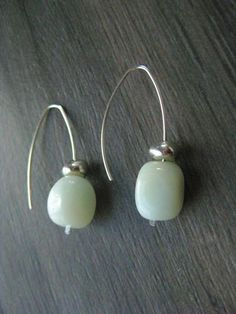 Amazonite and Silver Earrings, Aqua and silver, Sterling Silver Wire Earrings. They measure approximately 1 3/4 inches in length $32
