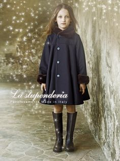 Stunning navy blue coat by La stupenderia Milano: made of wool and cashmere, with fur cuffs and collar, pearlescent buttons on the front. Kids Formal Wear, Kids Wear, Baby Girl Fall Outfits, Girl Outfits, Kids Winter Fashion, Cool Kids Clothes, Kids Wardrobe, Trendy Kids, Stylish Baby