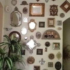 Collection Of Small Mirrors On Wall Mirror Fireplace Displaying
