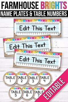 FREE editable name plates and table numbers. The clean and simple design will match your farmhouse, rustic or industrial decorations perfectly. It will look beautiful all year round, not only during b Classroom Setup, Classroom Design, Kindergarten Classroom, Future Classroom, Classroom Labels Free, Kindergarten Name Tags, Classroom Table Numbers, Preschool Name Tags, Classroom Name Tags