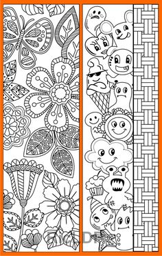 Set Of 8 Coloring Bookmarks With Abstract Patterns Doodles For Kids And Adult Digital Download