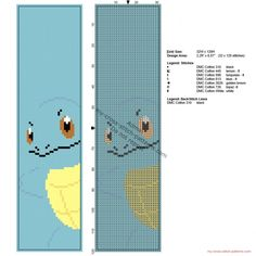 Free cross stitch pattern bookmark with Pokémon Squirtle 32 x 120