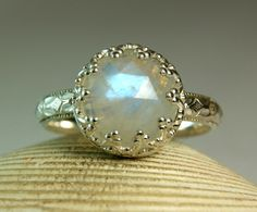 Moonstone Engagement Ring, Sterling Silver, Faceted Gemstone, June Birthstone, Fancy Bezel, by TazziesCustomJewelry on Etsy https://www.etsy.com/listing/90050711/moonstone-engagement-ring-sterling