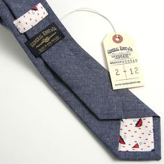 Italian Indigo Chambray & 1970s Umbrella Print Necktie - vintage ties handmade in the United States
