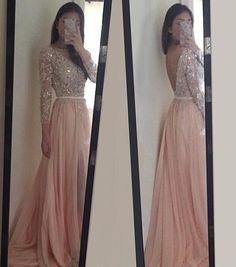 Fashion Pink Chiffon Prom Dress,Lace Appliques Prom Dress With Crystals,Long sleeves Prom Dress
