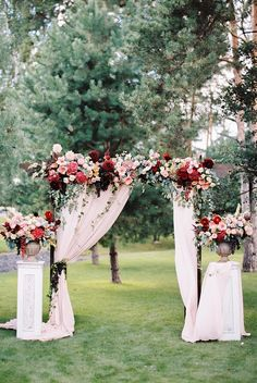 gorgeous marsala,burgundy and pink floral outdoor wedding arch ideas