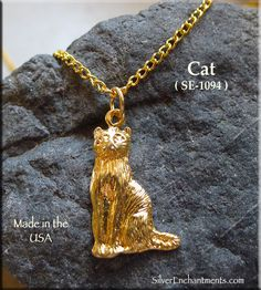 Gold Plated Cat Pendant-CLEARANCE Gold Plated Cat Pendants Overall Size, approx. : x Single-sided Sold by : Charm - Sorry, chain not included Gold Plated Necklace Chain and jump-rings are sold separately. We are no longer Gold Plat Usa Gold, Witch Jewelry, Gold Plated Necklace, Vintage Brooches, Jewelry Findings, Charms, Plating, Pendants, Buttons