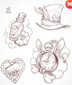 Alice in Wonderland tattoo designs