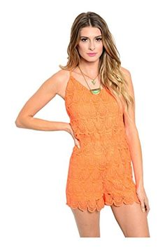 Dress up for a date night out this season in our #Dressy Crochet Lace Spaghetti Strap Romper. This cute and trendy spaghetti strap romper features a v-neckline, ...