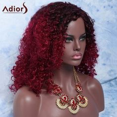 Mixed Color Medium Afro Curly Side Parting Fashion Women's Synthetic Hair Wig 33.49 USD