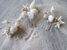 Wedding Hair Comb Bridal Natural Seashell and Starfish Hair Comb Headpiece with Pearls Crystals for