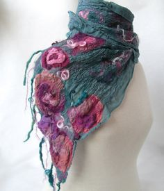 Nuno felt scarf in teal with pink roses by BlindSquirrel on Etsy