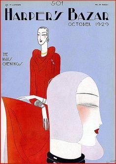 Vintage Deco Harper's Bazar Magazine Cover--Fashionable