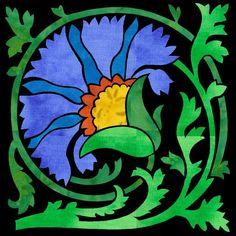 Deco Garden Bonus Block 32 Carnation Accompanies the 2015 Deco Garden Block of… Hand Applique, Applique Quilts, Art Nouveau Tiles, Flower Quilts, Patch Aplique, Thread Painting, Barn Quilts, Mosaic Patterns, Pretty Art