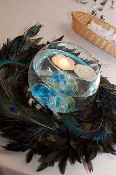 peacock decorations :  wedding centerpieces decor linen peacock Headtable Centerpiece