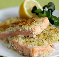 Grilled Salmon Fillets with Pesto Grilled salmon fillets with pesto.Grilled Salmon Fillets is really a simple dish.Try to marinate before cooking for at least 1 hour. Instructions :   0H30M   4 Serving(s) Ingredients :Nutrition Facts : 4 salmon fillets 1/2 cup dry white wine 4 tablespoons pesto zest and juice from 1 lemon freshly ground black pepper 2 tablespoons breadcrumbs 318 Calories 11G of Fat Combine the salmon fillets,dry white wine and lemon juice and zest in freezer bag. Season to…