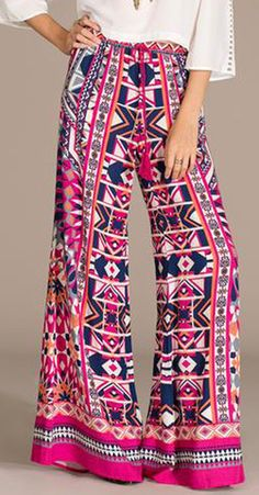 Flying Tomato PANTS | Kaleidoscope Print Palazzo Pants - Magenta - ellie and bea - Always FREE SHIPPING!