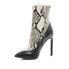 Grey 5 Inch & Up snake print boots - ankle boots - shoes / boots - women Heeled Boots, Shoe Boots, Ankle Boots, Shoes, River Island Heels, 5 Inch And Up, Snake Print Boots, Black And Grey, Autumn Fashion