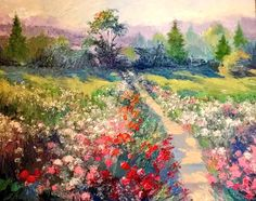 """""""In The Garden of Our Youth""""16x20 original palette knife oil painting by Peggy Ann Thompson"""