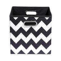 Modern Littles Chevron Storage Bin (47 BRL) ❤ liked on Polyvore featuring home, home decor, small item storage, storage bins and chevron home decor