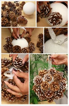 DIY Pine Cones - except... take the time and energy to finish it so the Styrofoam doesn't show - PLEASE!