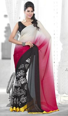 G3 fashions Black Red Jacquard Georgette Party Wear Designer Saree  Product Code : G3-LS10903 Price : INR RS 2232