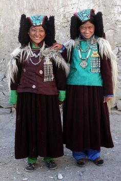 The minority ethnic groups of India rarely have saris as their major form of dress. These are women from Zanskar. Their costume is practical to allow them to clamber over the hills of Kashmir as they tend to their livestock.