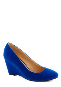 On the Wedge of Glory in Blue, #ModCloth pretty much perfect wedge in my favorite color
