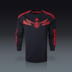 adidas Mexico Long Sleeve Home Goalkeeper Jersey 2014