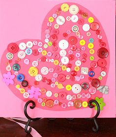 valentine's day button heart kids craft